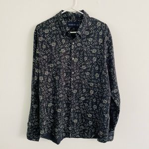 Abercrombie Gray Floral Long Sleeve Button Down XL